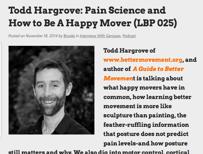 Today's recommendation from The Balanced Runner: http://www.liberatedbody.com/todd-hargrove-lbp-025/