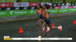 Compare the head position of Kosgei and Chepng'etich