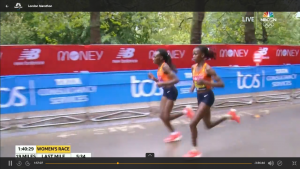 Chepng'etich and Kosgei late in the race