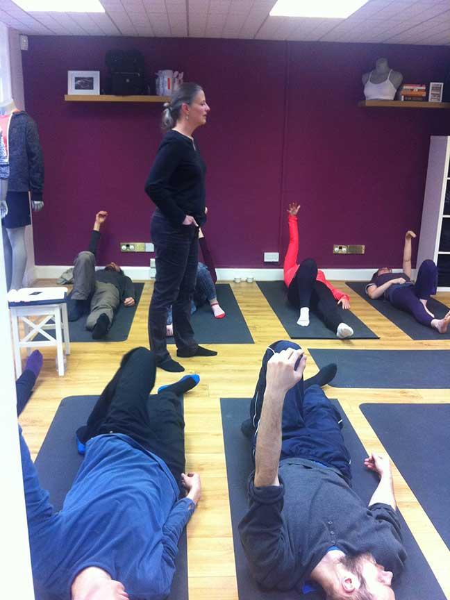 Jae teaches a Feldenkrais running lesson at the Lululemon showroom in Edinburgh, UK. March 2015.